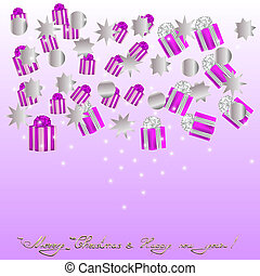 Cristmas backgrouns with gifts and bows - Cristmas and New...