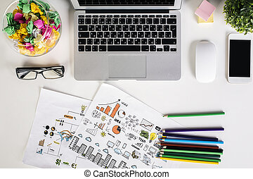 Office table topview - Top view of light office desktop with...