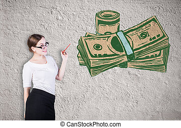 Finance concept - Attractive young businesswoman looking at...