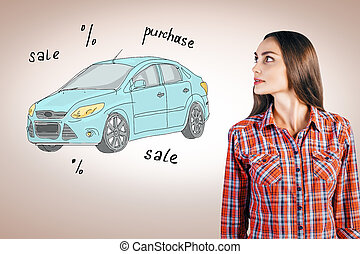Vehicle portrait concept - Attractive young woman looking at...