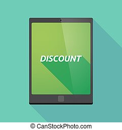 Long shadow tablet PC with the text DISCOUNT - Illustration...