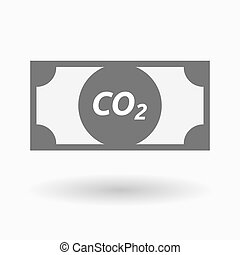 Isolated bank note icon with the text CO2 - Illustration of...