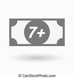 Isolated bank note icon with the text 7+ - Illustration of...