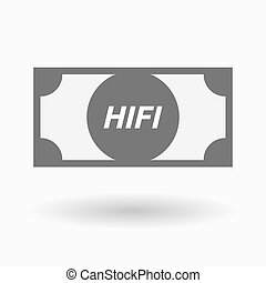 Isolated bank note icon with the text HIFI - Illustration of...