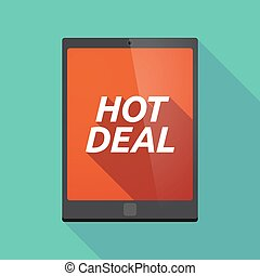 Long shadow tablet PC with the text HOT DEAL - Illustration...
