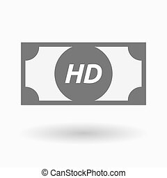 Isolated bank note icon with the text HD - Illustration of...