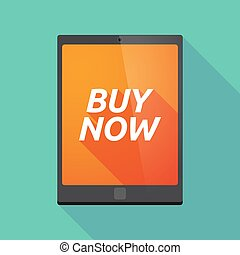 Long shadow tablet PC with the text BUY NOW - Illustration...