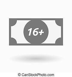 Isolated bank note icon with the text 16+ - Illustration of...