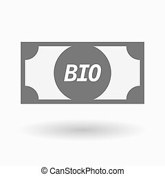 Isolated bank note icon with the text BIO - Illustration of...