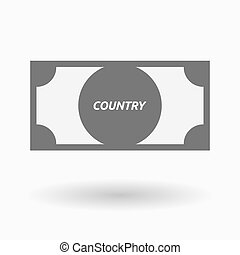 Isolated bank note icon with the text COUNTRY - Illustration...
