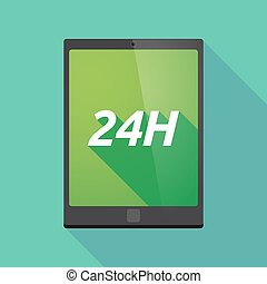 Long shadow tablet PC with the text 24H - Illustration of a...