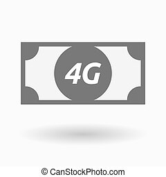Isolated bank note icon with the text 4G - Illustration of...
