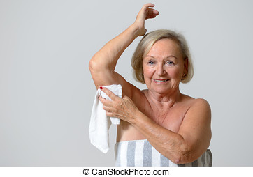 Middle Aged Blond Woman Shaving her Armpit - Middle Aged...