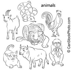 rooster, cat, snake, monkey, goat, tiger and ox