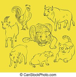 rooster, cat, pig, rat, goat, tiger and ox