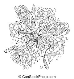 Butterfly coloring book for adults vector illustration....