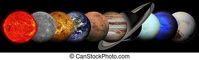 Sun, Mercury, Venus, Earth, Mars, Jupiter, Saturn, Uranus,...