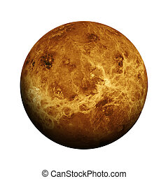 Solar System - Venus. Isolated planet on white background....