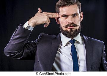 Depressed businessman with finger's gun - Depressed...