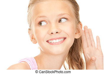 gossip - bright picture of lovely girl listening gossip