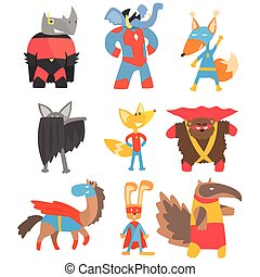 Animas Disguised As Superheroes Set Of Geometric Style...