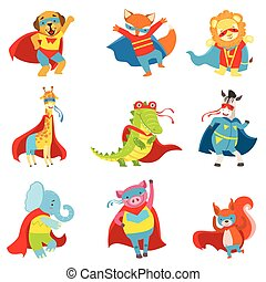 Animals Superheroes With Capes And Masks Set. Childish Flat...