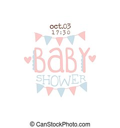Paper Garlands Baby Shower Invitation Design Template