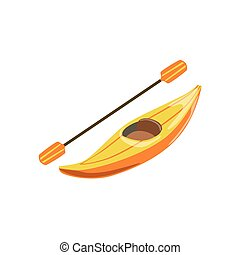 Yellow Plastic One Person Canoe Type Of Boat Icon. Simple...
