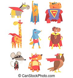 Animas Dressed As Superheroes Set Of Geometric Style...