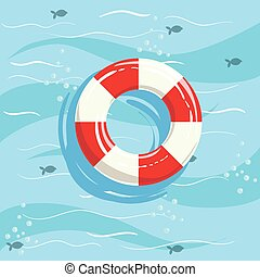 Classic Life Preserver Ring Buoy With Blue Sea Water On...