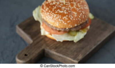 Sandwich on wooden table - Sandwich with bacon and...