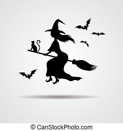 young Witch silhuette on a broomstick - young Witch...
