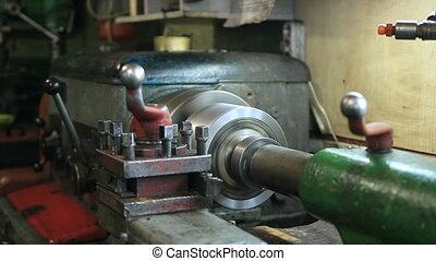 Old turning machinery working in craftsmanship and making...