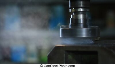 Old industrial milling machine cutting metal process by...