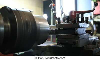 Cutting tool on vintage turning machine - Close up of...