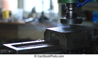 Industrial metal machining cutting process. Old lathe...