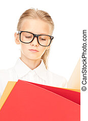 elementary school student with folders - picture of an...