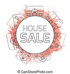 Outline illustrations of country houses in a circle with watercolor splashes and space for text. Property For Sale