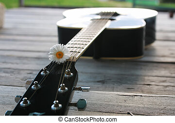 guitar string and daisy flower on the deck