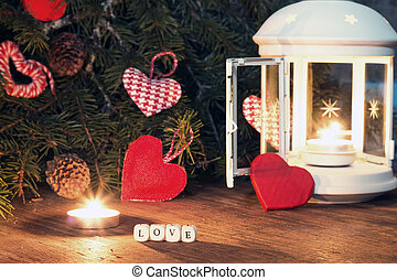 candle dark heart - candle in dark with snow overlay and...