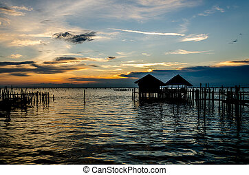 Sea on a beautiful sunset light at Songkhla province, Thailand