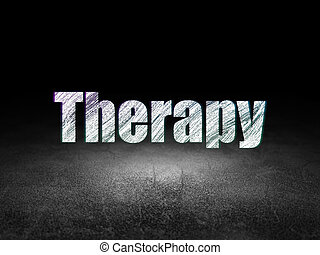 Healthcare concept: Therapy in grunge dark room