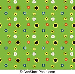 Background of the five types of flowers on a green meadow.