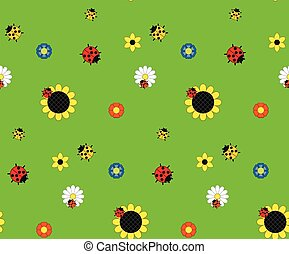Background of the five kinds of flowers and three kinds of ladybugs on a green meadow.