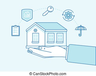 Home insurance concept - illustration and infographics design elements