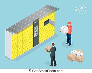 Isometric Parcel Delivery Lockers. Self-service. Express Delivery. This service provides an alternative to home delivery for online purchases.