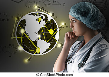 Collage on scientific topics. Young female doctor standing against gray background
