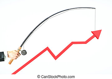 Business management concept - Upward chart arrow suspended...