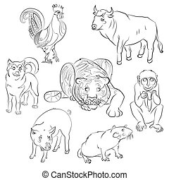 rooster, dog, pig, rat, monkey, tiger and ox