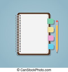 Notebook with bookmarks and pencil